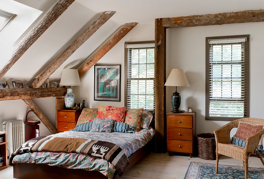 Mix Furniture and Interiors in An Attic Bedroom