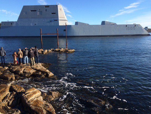 Destroyer Zumwalt (DDG-1000) is underway on Dec. 7, 2015. US Navy Photo