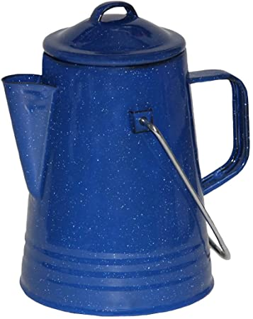 Grip Blue Enamel Coffee Percolator for Camping