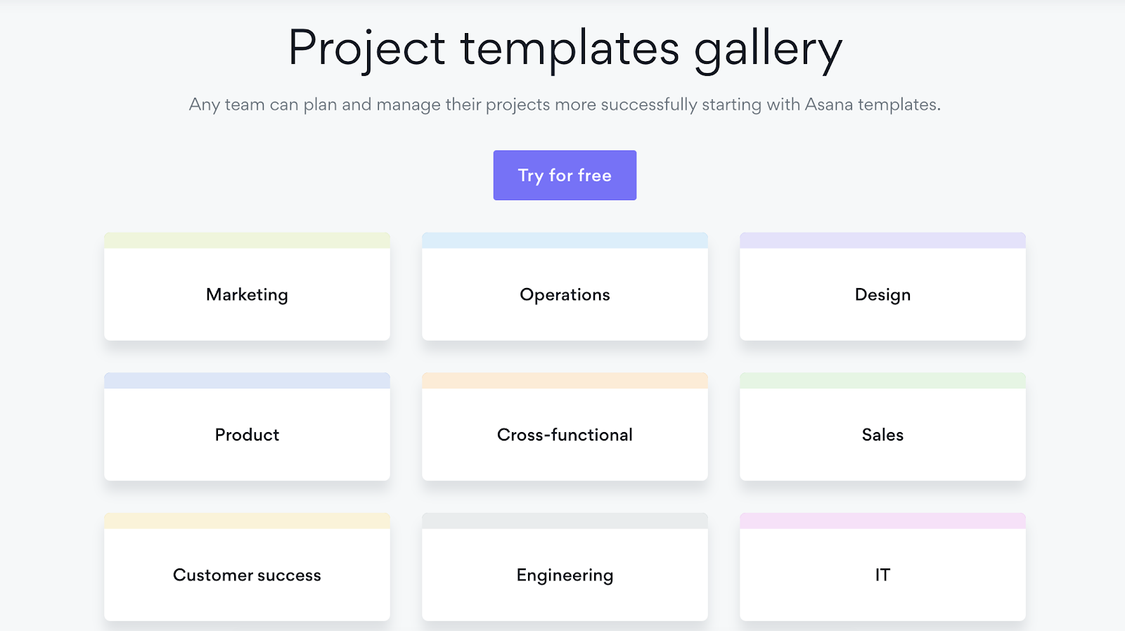 Asana Project Template Gallery