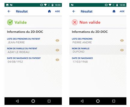 capture d'écran de l'application TousAntiCovid Verif lors du scan d'un QR code