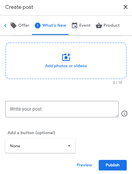 Create an update post in Google My Business