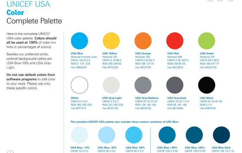 UNICEF color palette