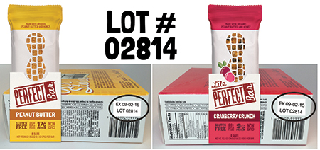 Carton label, Peanut Butter and Cranberry Crunch nutrition bars