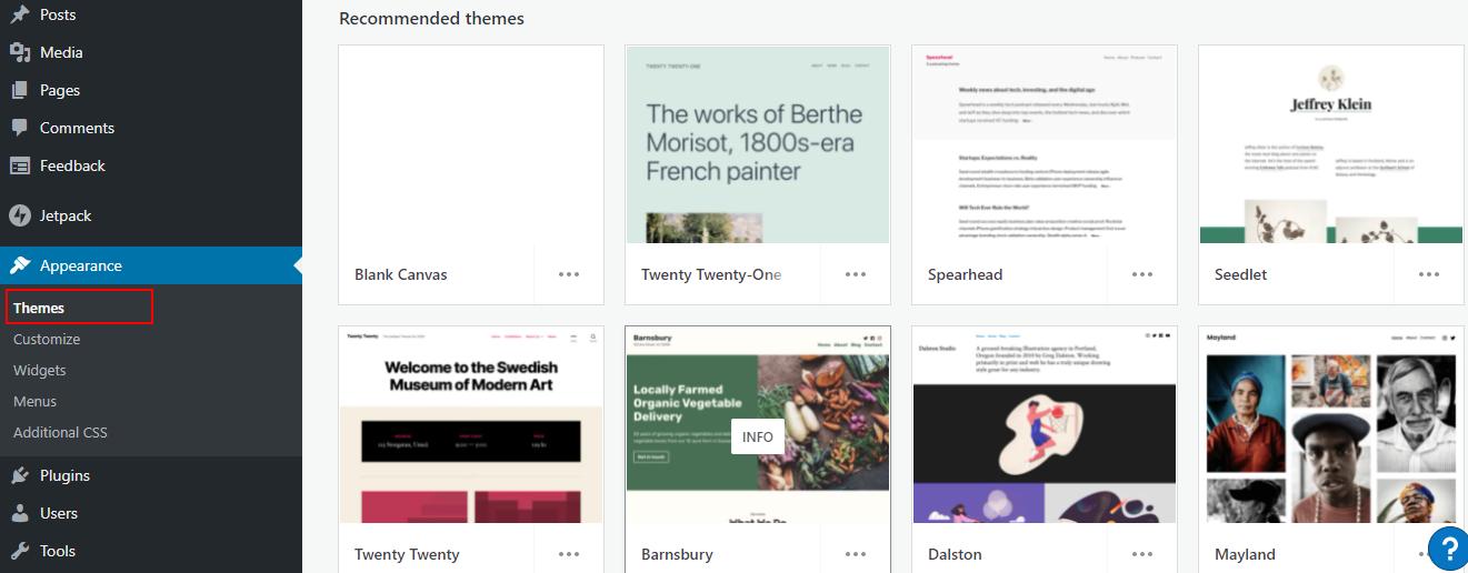 changing a theme on WordPresscom