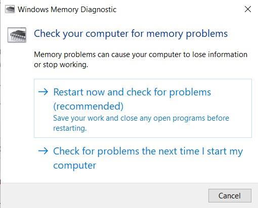 Windows Memory Diagnostic utility dialog box