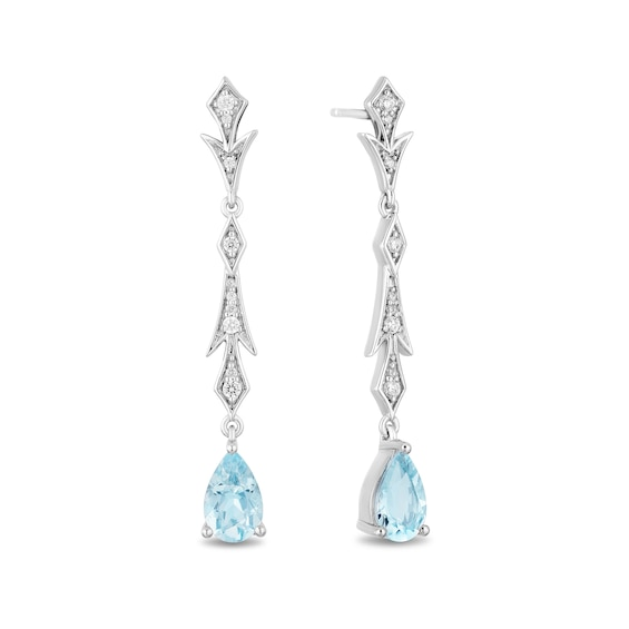 Enchanted Disney Elsa Pear-Shaped Aquamarine and 1/6 CT. T.W. Diamond Frost Drop Earrings in Sterling Silver
