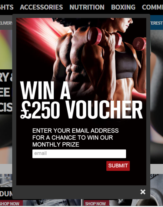 powerhouse fitness email signup popup