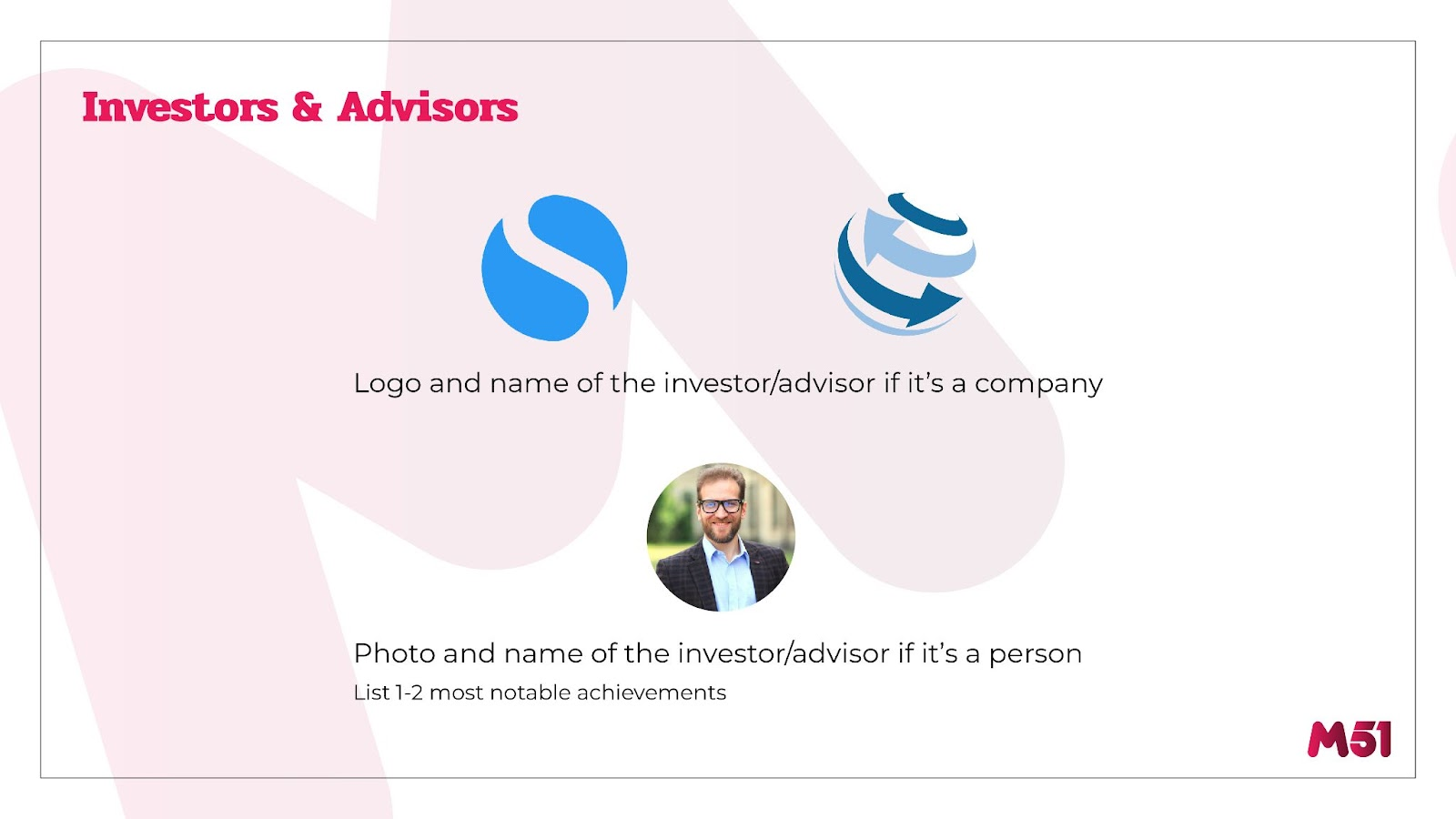 m51 Pitch Deck Outline: Investors and Advisors