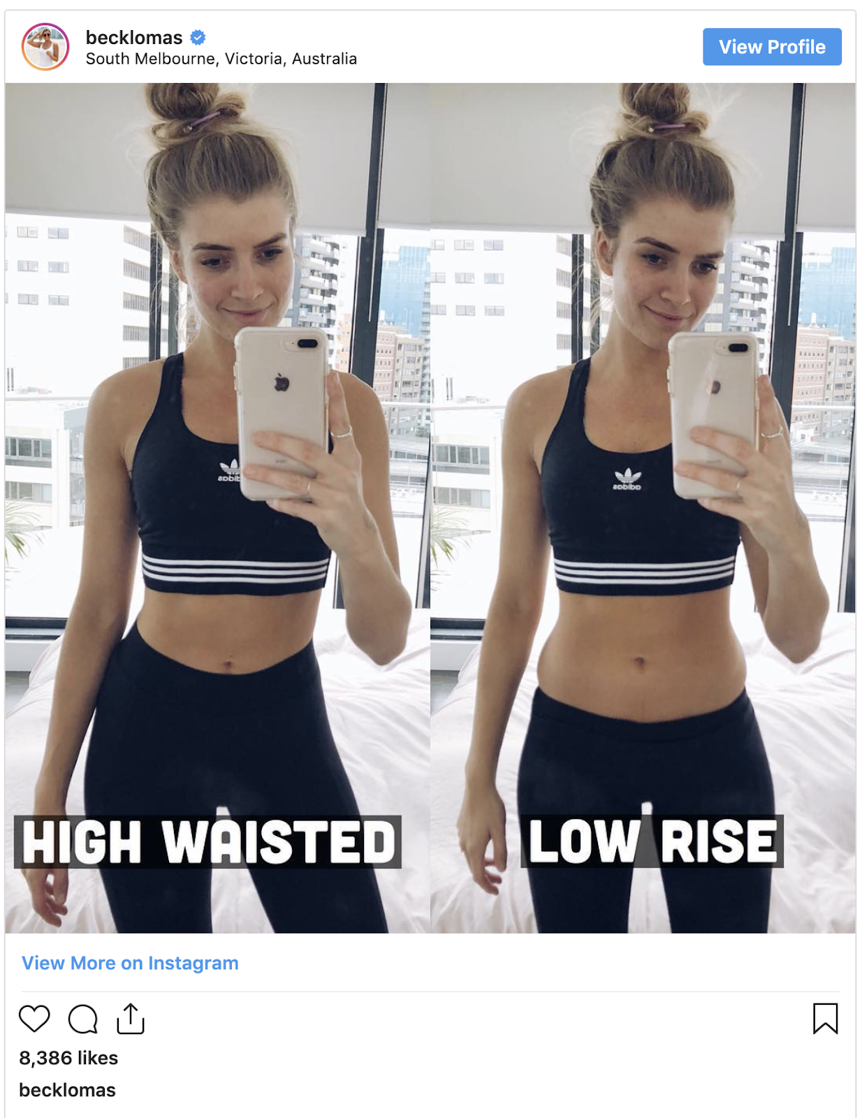 The difference between high waisted and mid-rise leggings