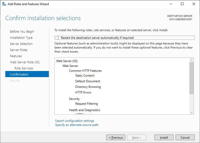 Confirm Installation Selections - Windows Server 2019