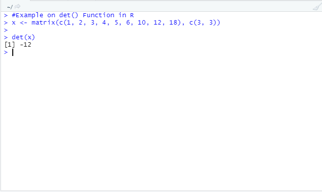 This image shows how the det() function works to find out the determinant in R programming with example code and output.