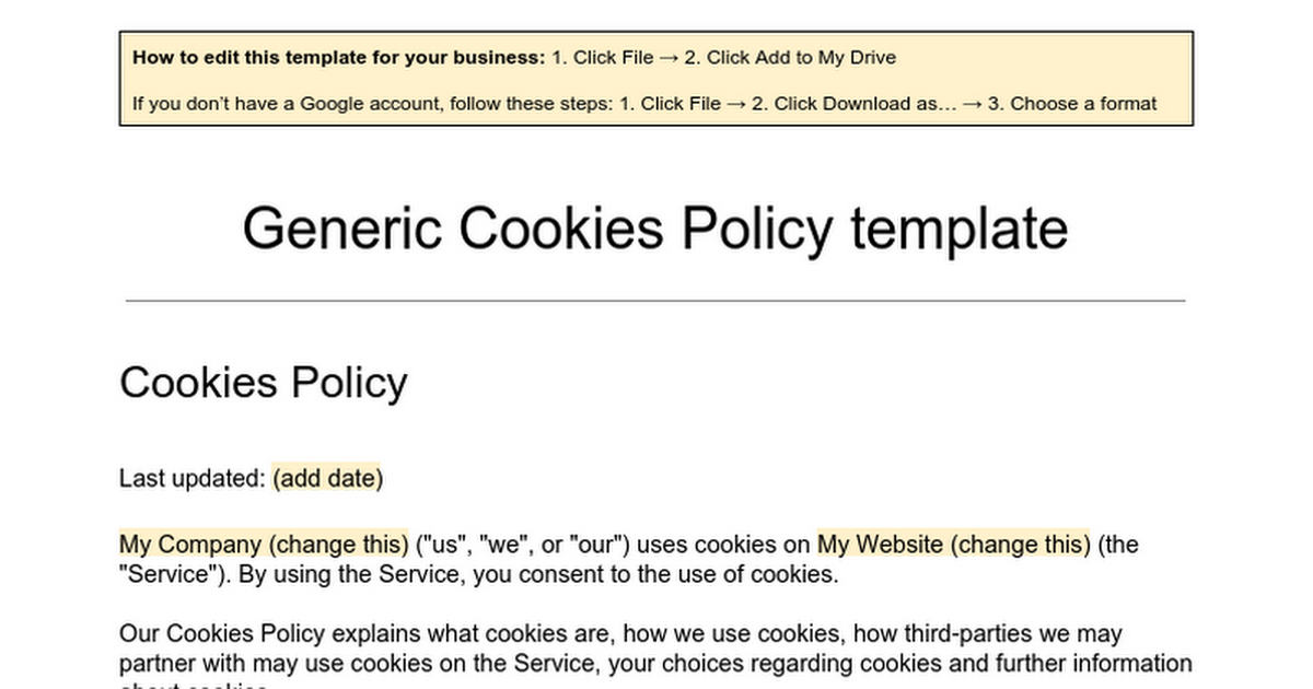 generic cookies policy template google docs