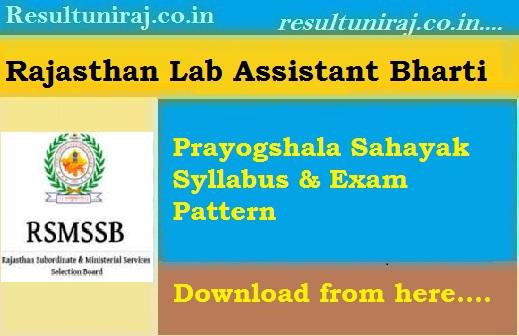 Rajasthan Lab Assistant Syllabus 2018