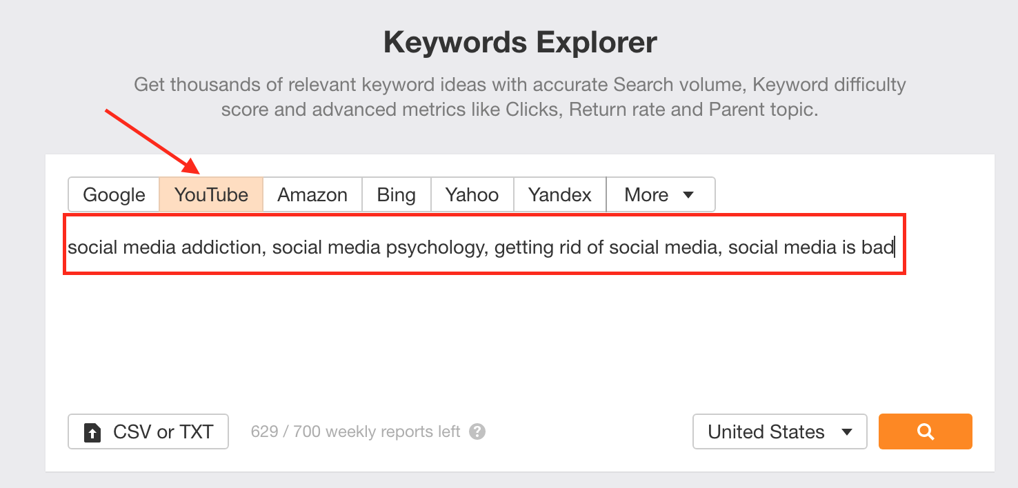 An image of the Keywords Editor page, with an arrow pointing to the