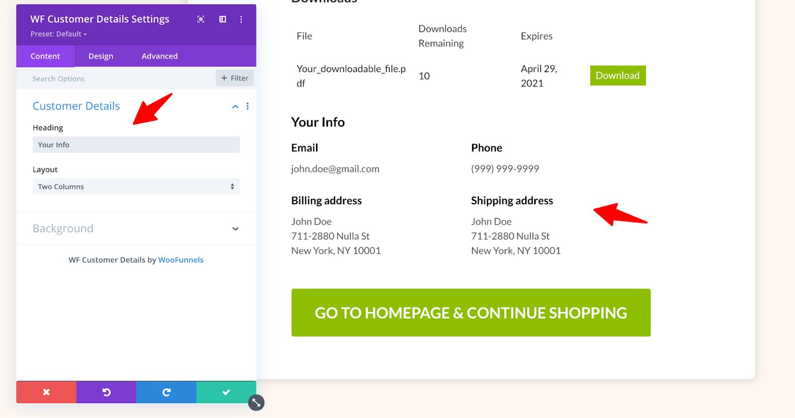 "Content settings for Divi ""WF Customer Details"" module"