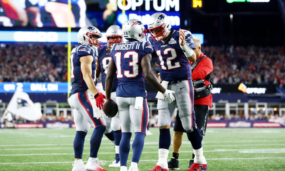 The Patriots offense surrounds <a rel=