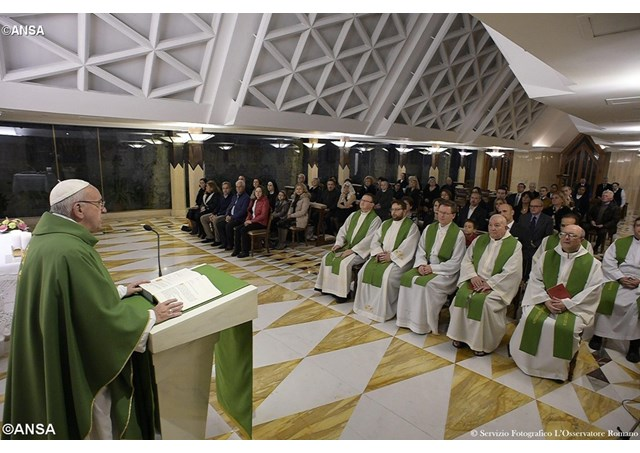 Pope Francis preaches at the daily Mass at the Casa Santa Marta. - ANSA