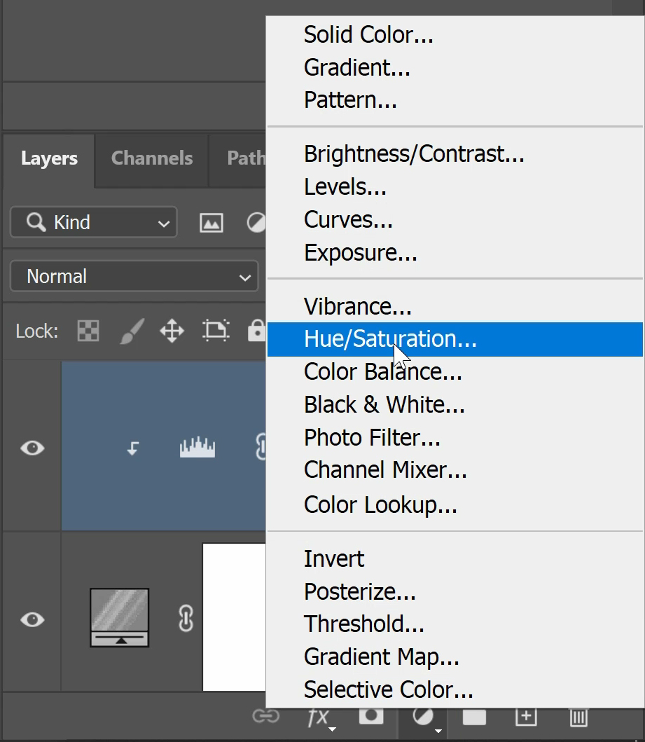 Click on the New Adjustment Layer icon and select Hue/Saturation.