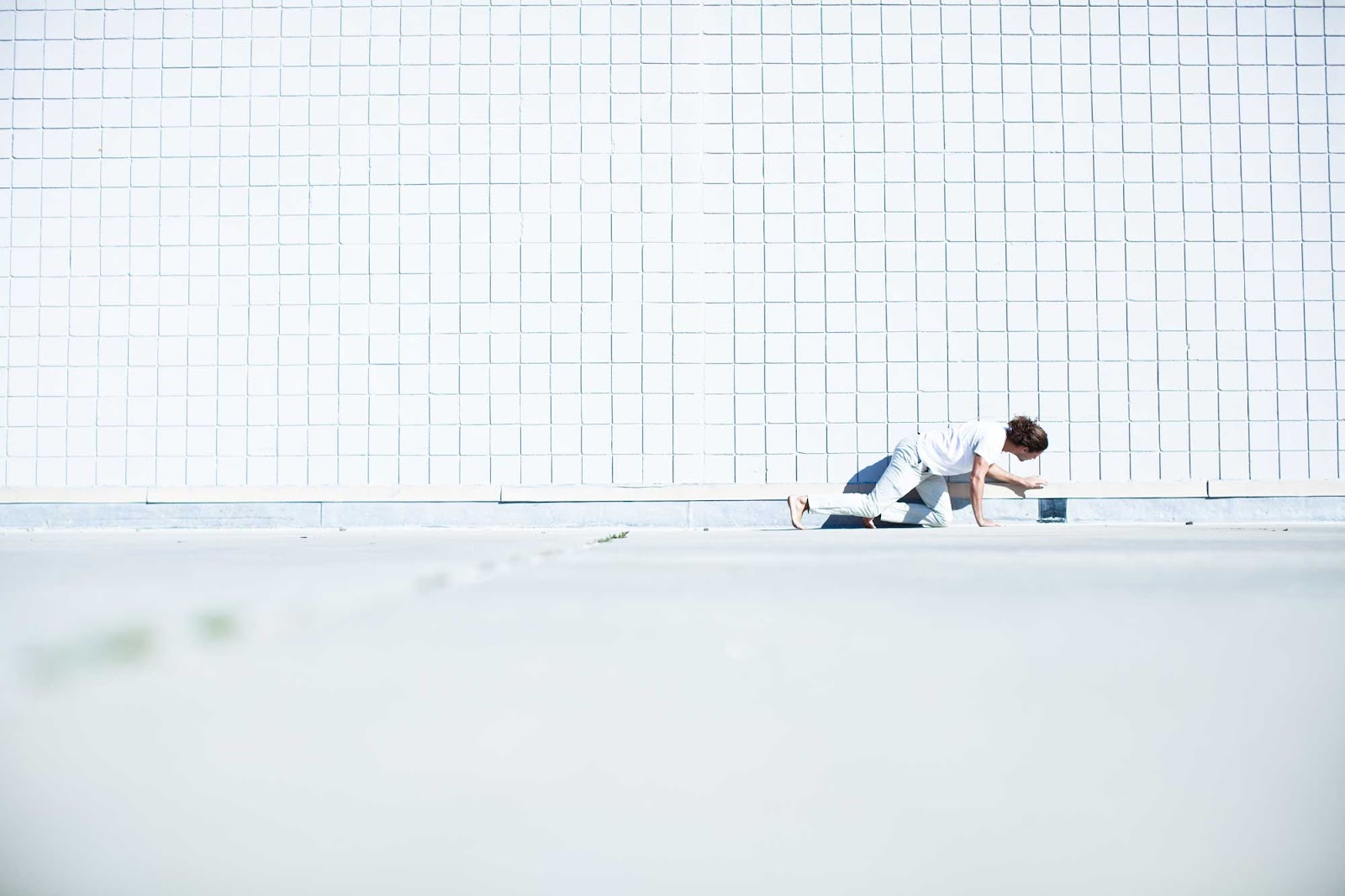 A man crawling.