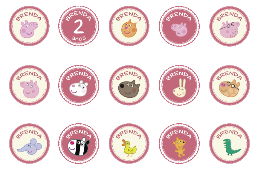 toppers personalizados tema Peppa Pig