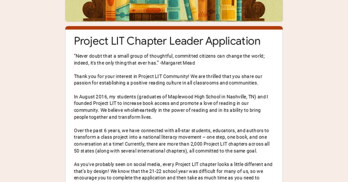 Project LIT Chapter Leader Application