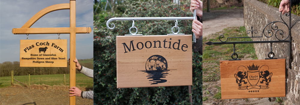 Natural wooden signs made from Oak, Iroko and Sapele by The Sign Maker.