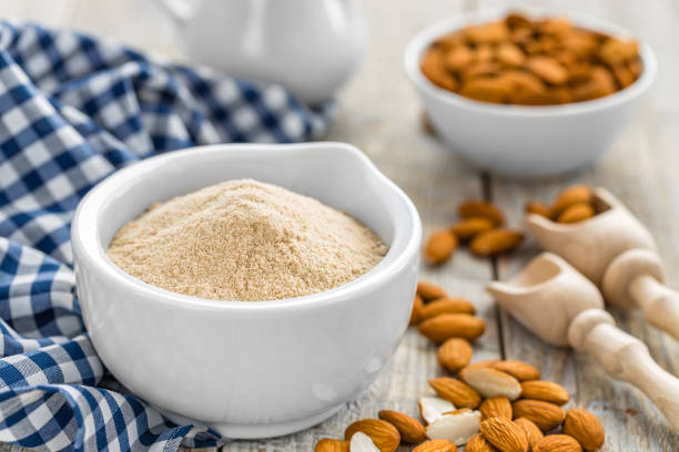 A popular almond flour in a bowl is also a substitute for wheat flour.