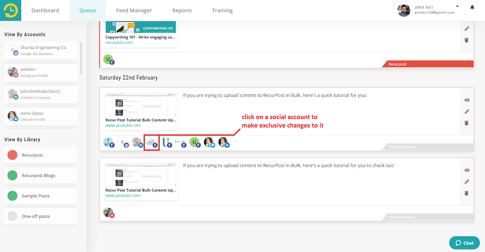 customize your update for a single social account - recurpost - social media scheduler