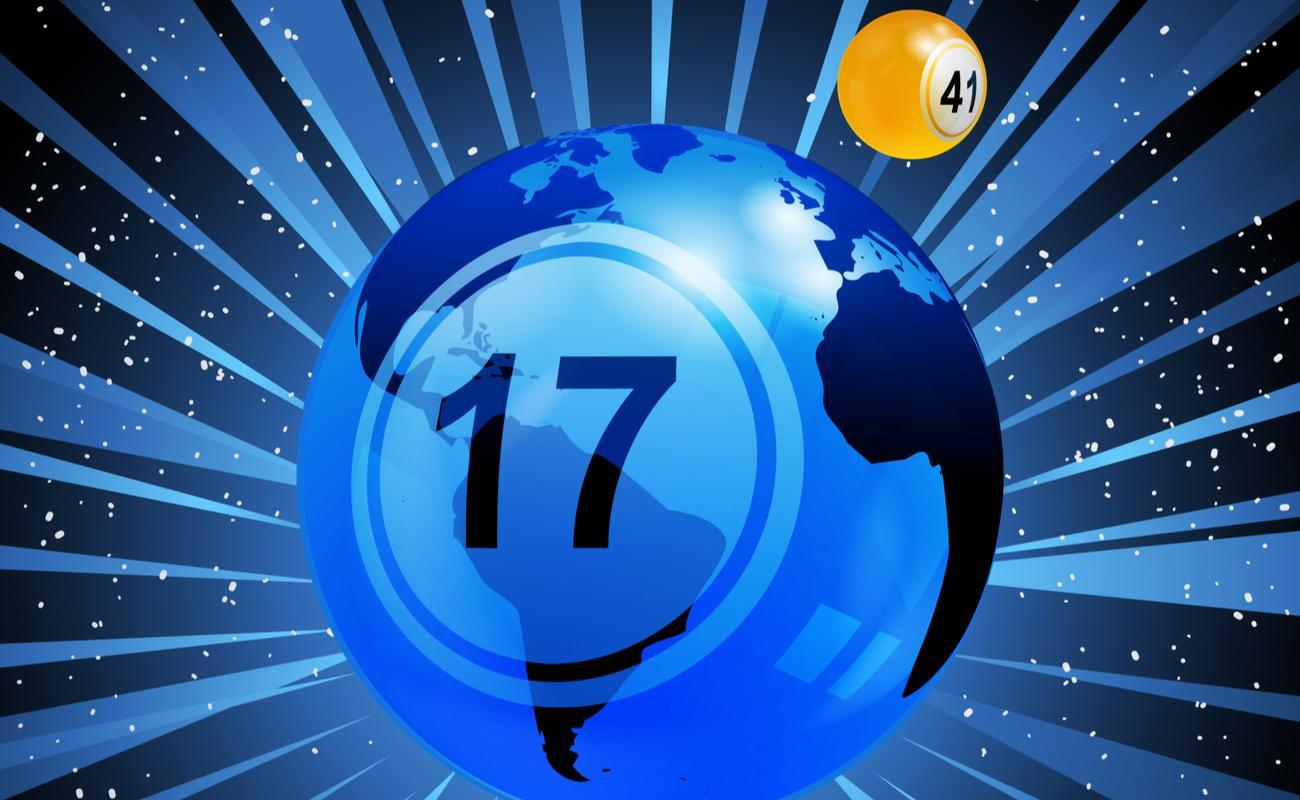Number 17 bingo ball as the Earth with Bingo ball 41 as the Moon