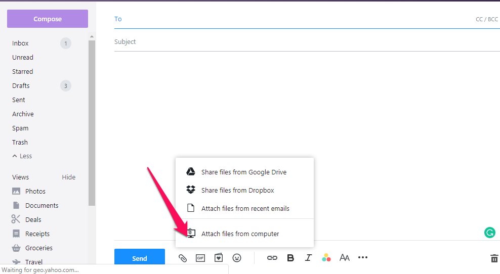 Sending a video as an attachment in Yahoo Mail.