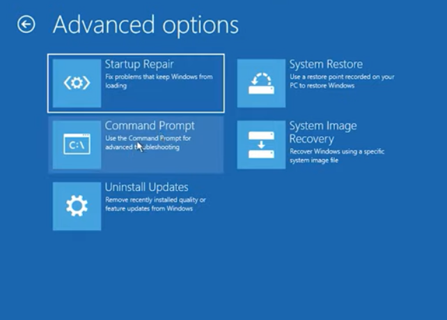 choose command prompt from advanced options