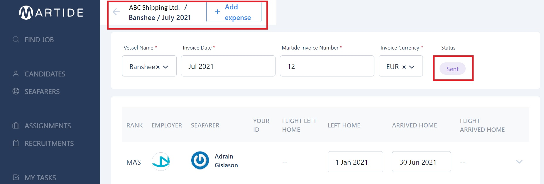 screenshot showing the add expense button.