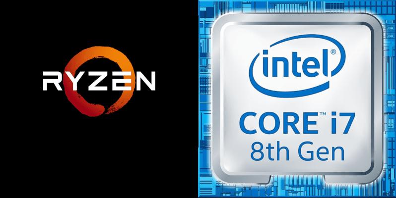 Ryzen and Intel Core 17 8th Gen logo computer processors