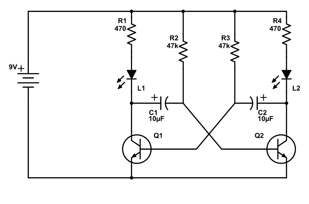 Hai đèn LED nhấp nháy sử dụng Transitor