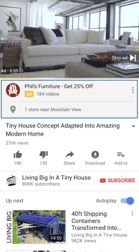 YouTube на мобильном устройств