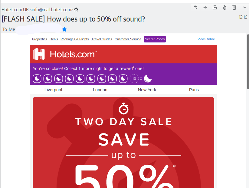 Hotels.com campaign email