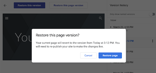 Why do you restore an entire site when you can restore a particular page?