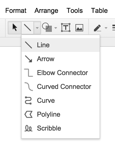 Line Tool Bar with Line, Arrow, Elbow Connector, Curved Connector, Curve, Polyline, and Scribble options