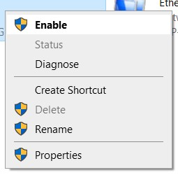 Right-click on the network and select Enable