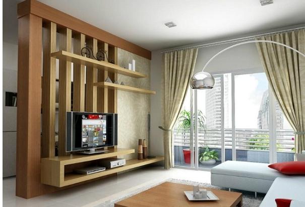 vách ngăn gỗ phòng khách và bếp có tính thẩm mỹ cao