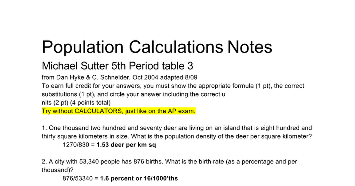 Population Calculations Google Docs – Population Density Worksheet