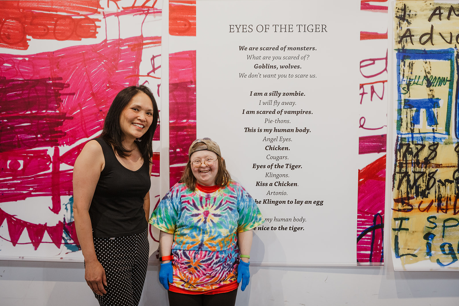 Vancouver East MP Jenny Kwan stands beside artist Teresa Pocock at the opening of Born To Represent on July 22, 2019. Photo by Isabella Sarmiento, This Is It Studios.