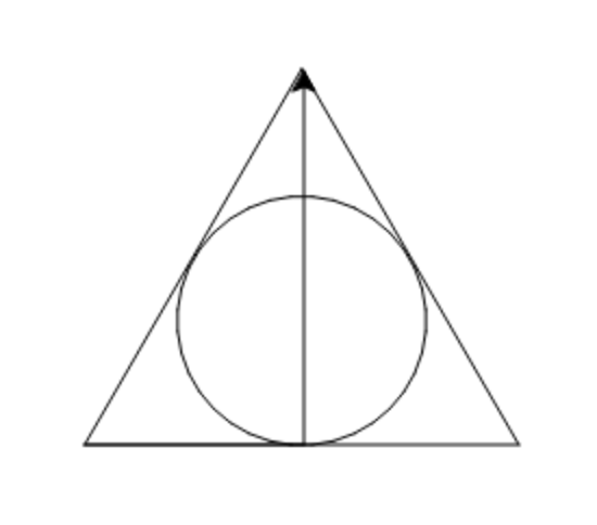 Deathly Hallows symbol drawn with Python Turtle