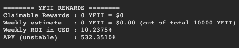 Screengrab showing weekly ROI and APY for YFII staking