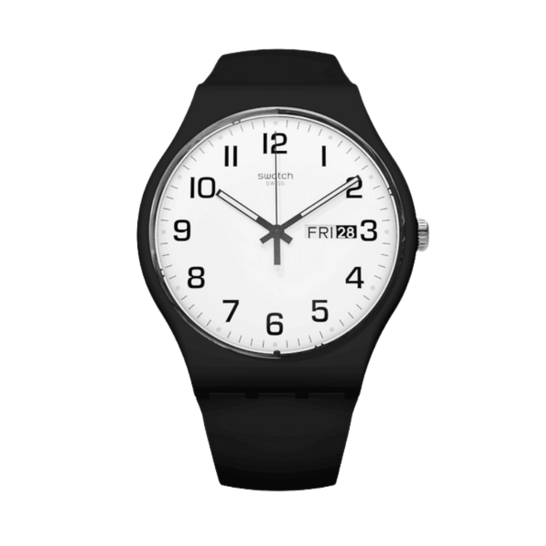 Swatch watch with black plastic and white dial.