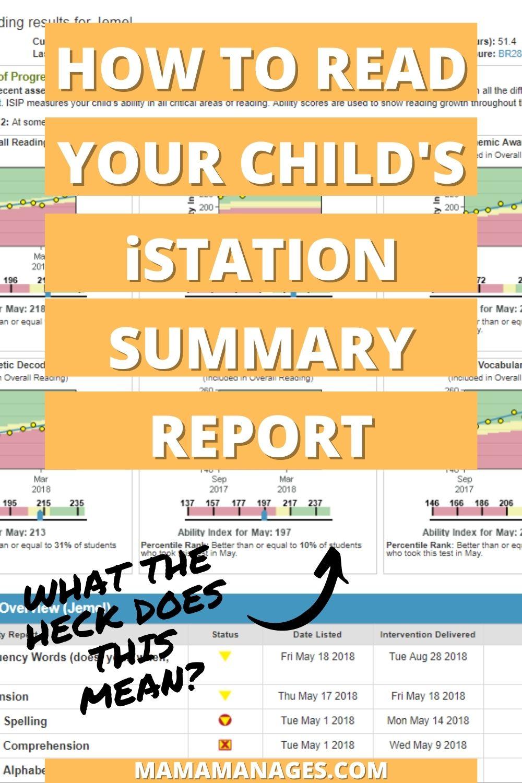 iStation student summary handout pinterest pin