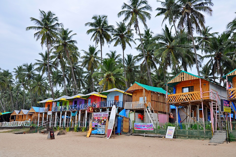 Beach huts and surfboards, Goa.