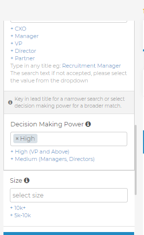 Slintel dashboard- decision making power high filter