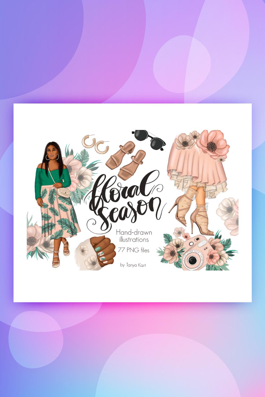Floral Season Clipart Illustration